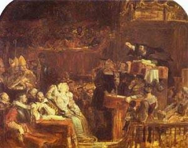 The preaching of john knox before the lords of congregation 10 june 1559 xx national trust petworth house sussex uk